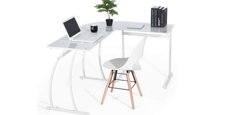 Escritorio de cristal blanco para oficina Mesa de estudio escritorio de cristal bonVIVO barata barato precio precios comprar oferta ofertas rebaja rebajas