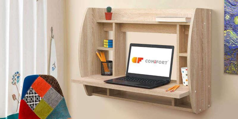 Escritorio plegable de pared con estantes Mesas de escritorio mesa escritorio estudio comprar barata baratas baratos barato precio precios comprar