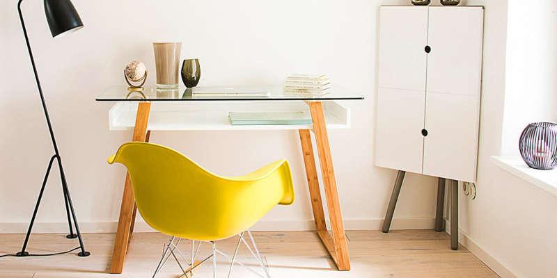 Mesa de estudio escritorio de cristal bonVIVO barata barato precio precios comprar oferta ofertas rebaja rebajas