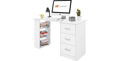 Mesa de estudio escritorio de madera Comifort Mesa de estudio escritorio de cristal bonVIVO barata barato precio precios comprar oferta ofertas rebaja rebajas