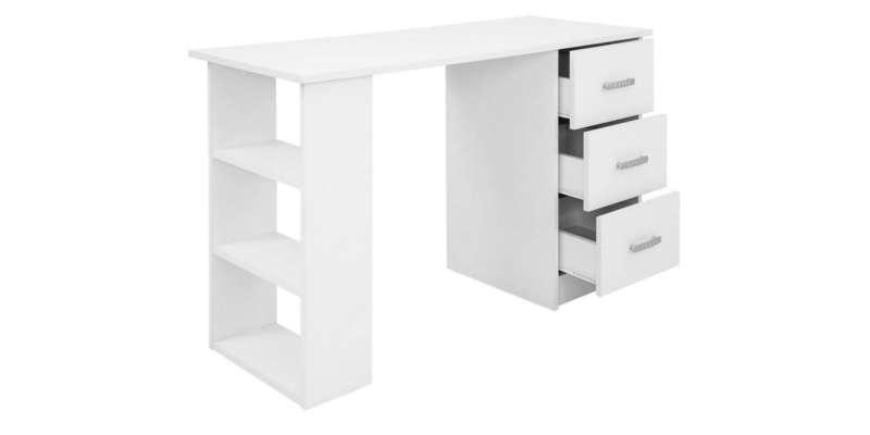 Mesa escritorio blanca con cajones y baldas Comifort Mesa de estudio escritorio de cristal bonVIVO barata barato precio precios comprar oferta ofertas rebaja rebajas